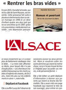 Article presse sur Danielle Schroder et le deuil périnatal dans l'Alsace