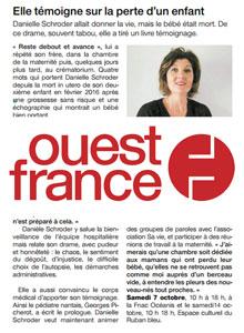 Article presse sur Danielle Schroder et le deuil périnatal dans Ouest France